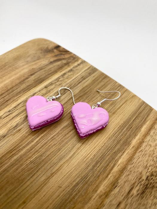 Cercei macarons inimioara roz handmade 8
