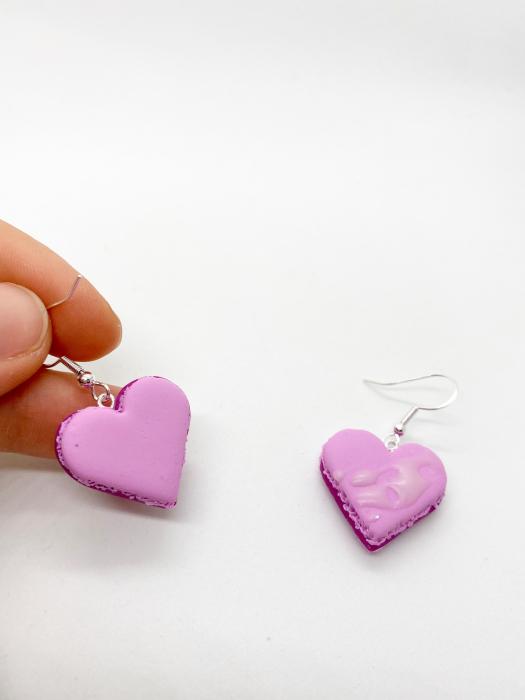 Cercei macarons inimioara roz handmade 3