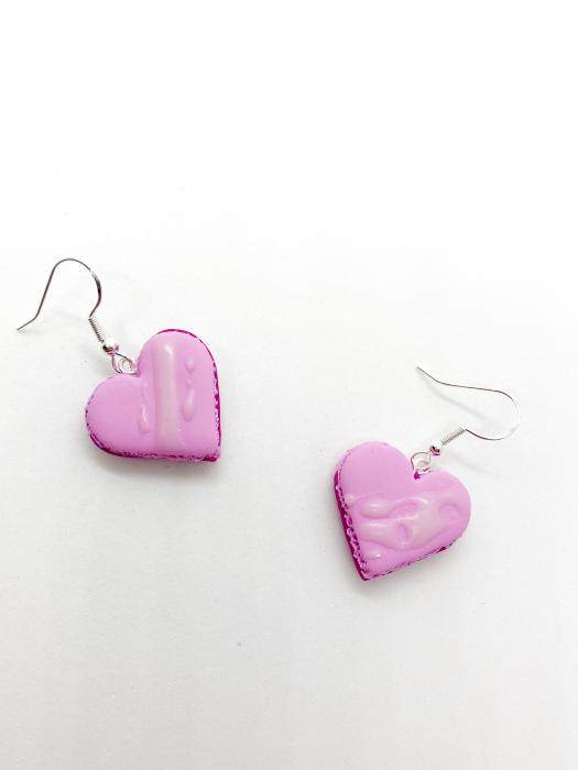 Cercei macarons inimioara roz handmade 0