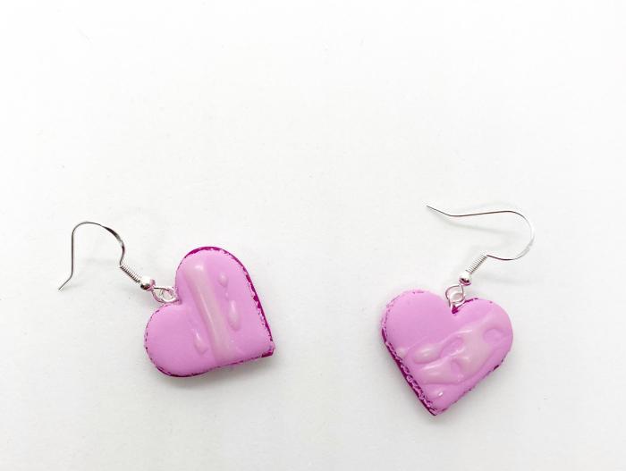 Cercei macarons inimioara roz handmade 7