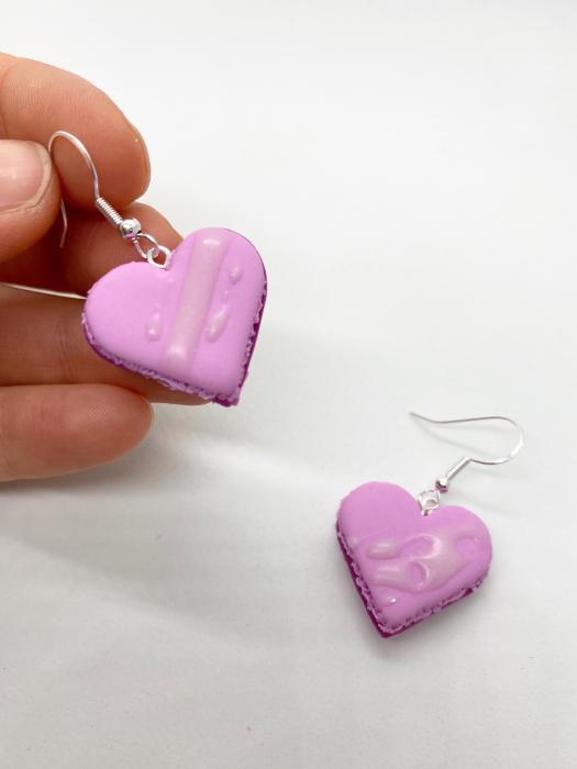 Cercei macarons inimioara roz handmade 6