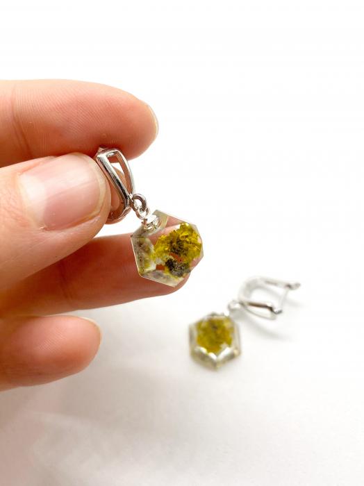 Cercei ovali cu licheni si agatatoare din argint - Cercei Handmade 2