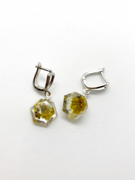Cercei ovali cu licheni si agatatoare din argint - Cercei Handmade 0