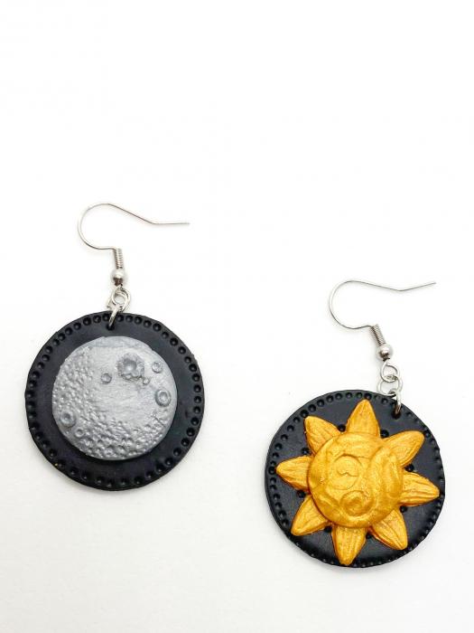 Cercei soare si luna handmade 0