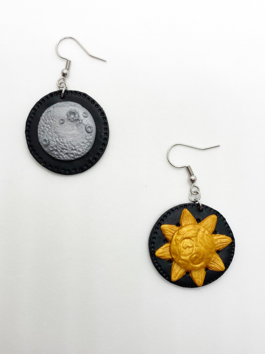 Cercei soare si luna handmade 2