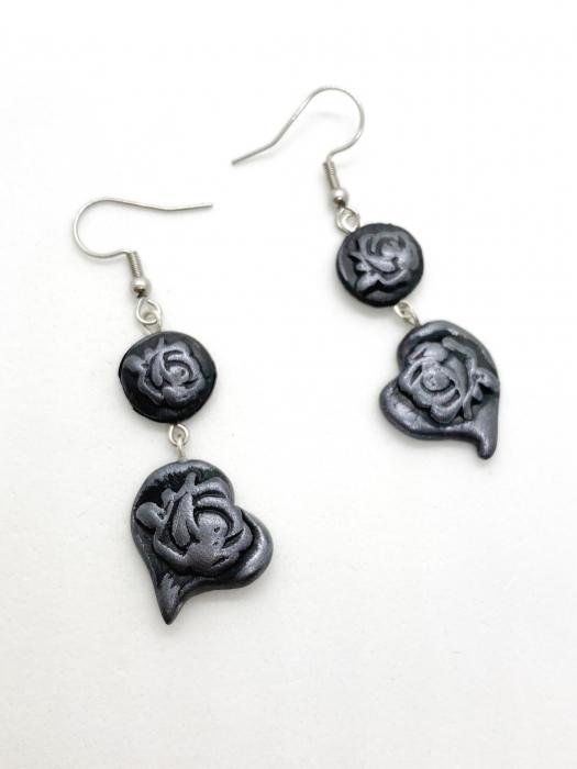Cercei cu trandafiri gri handmade 0