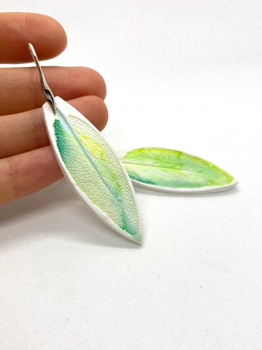 Cercei cu frunza de argint handmade [0]