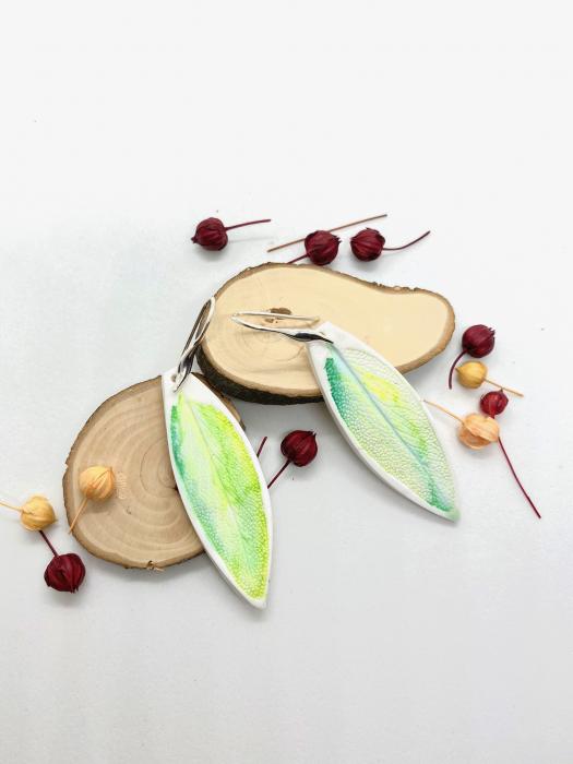 Cercei cu frunza de argint handmade [4]