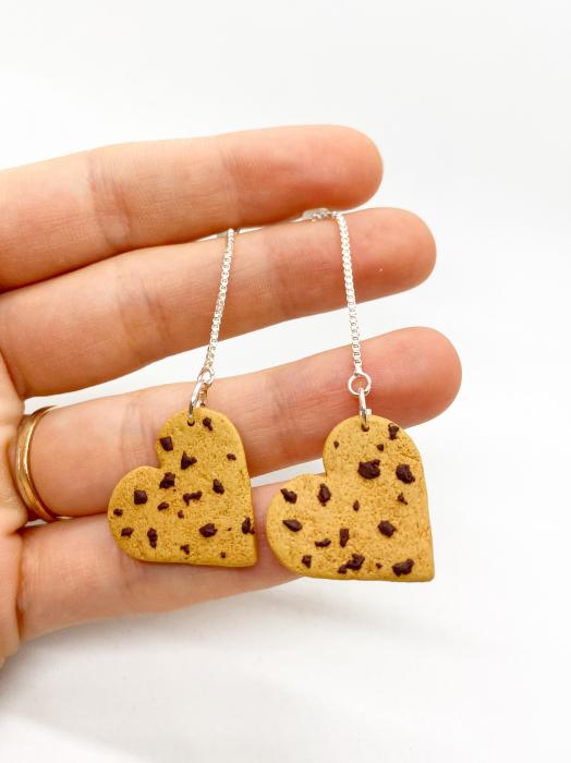 Cercei biscuiti inimioara handmade 0