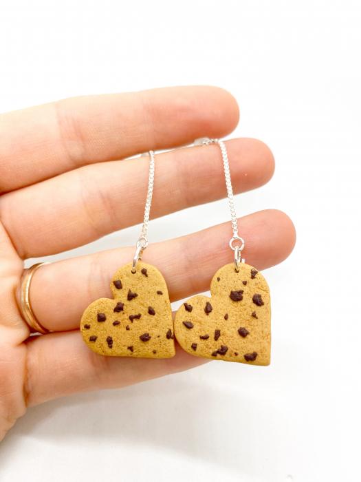 Cercei biscuiti inimioara handmade 2