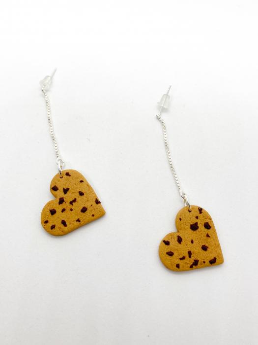 Cercei biscuiti inimioara handmade 1