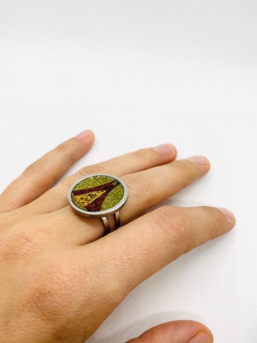Inel handmade cu frunze de toamna 1