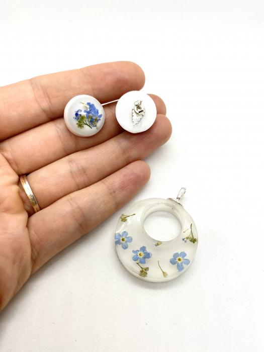 Set de bijuterii din argint cu flori de nu ma uita 1
