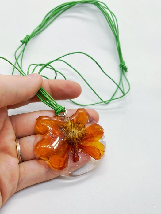 Pandantiv cu floare de camp portocalie [0]