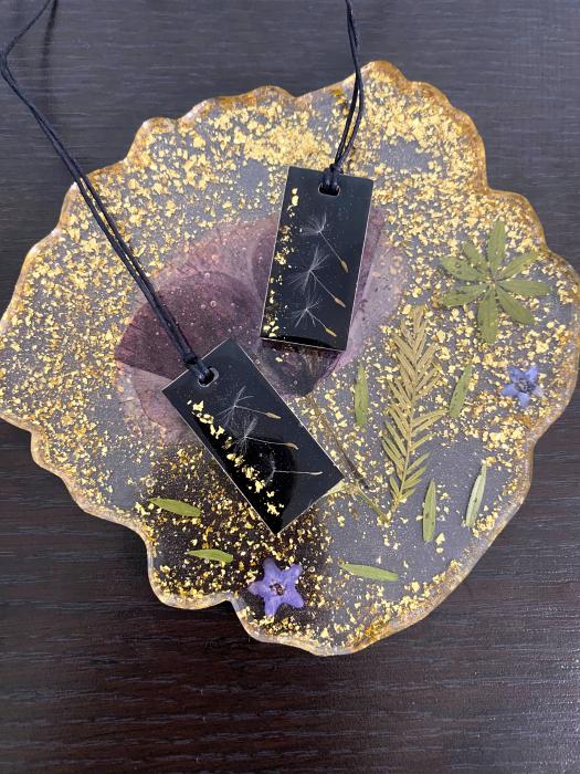 Pandantiv handmade cu puf de papadie 7