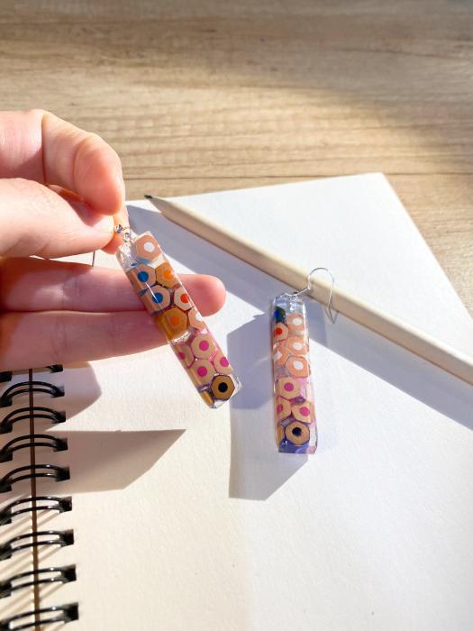 Cercei cu creioane colorate din argint [6]