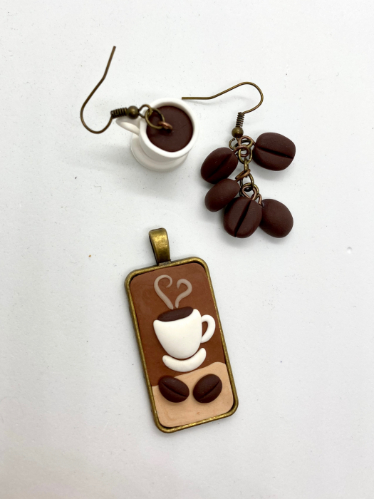 Set cafea din lut polimeric  - Handmade [3]