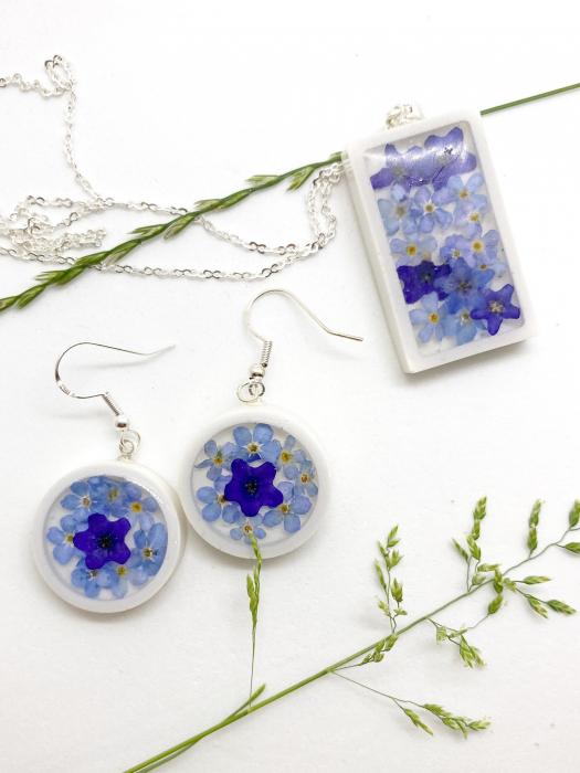 Set de bijuterii cu flori albastre - Set bijuterii handmade [7]