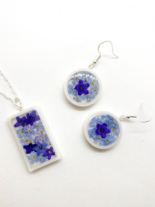 Set de bijuterii cu flori albastre - Set bijuterii handmade [4]