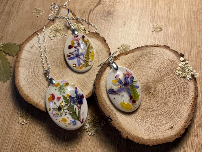 Set de bijuterii din argint cu flori colorate - Set bijuterii handmade 5