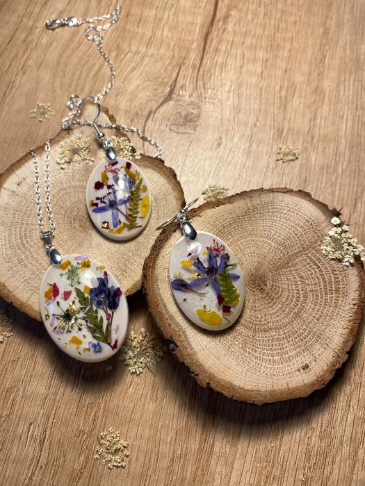 Set de bijuterii din argint cu flori colorate - Set bijuterii handmade 3
