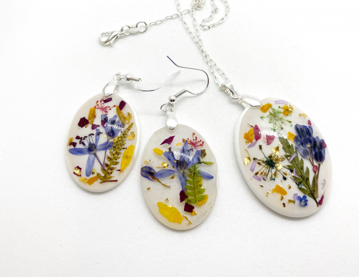 Set de bijuterii din argint cu flori colorate - Set bijuterii handmade 0