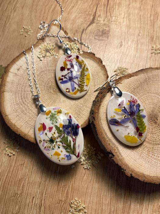 Set de bijuterii din argint cu flori colorate - Set bijuterii handmade 4