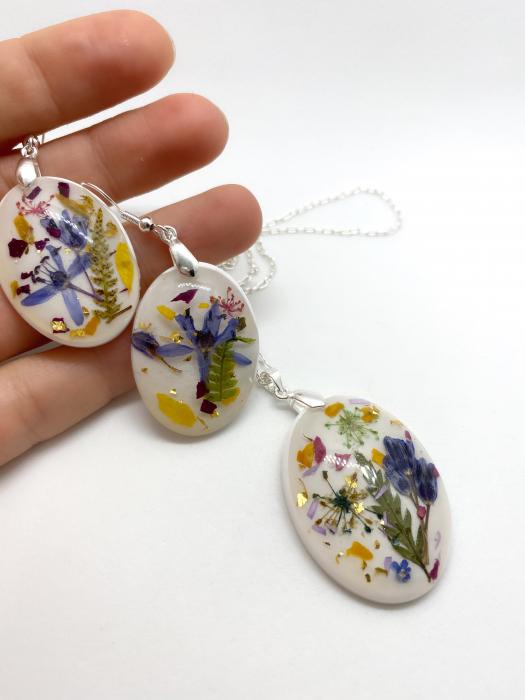 Set de bijuterii din argint cu flori colorate - Set bijuterii handmade 2