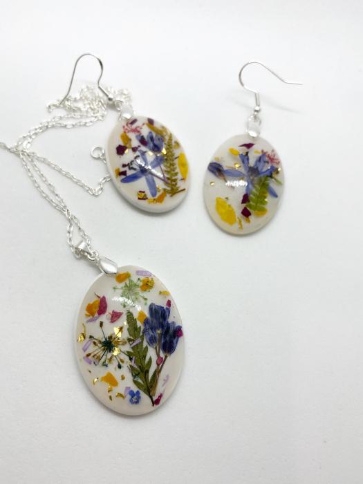 Set de bijuterii din argint cu flori colorate - Set bijuterii handmade 1