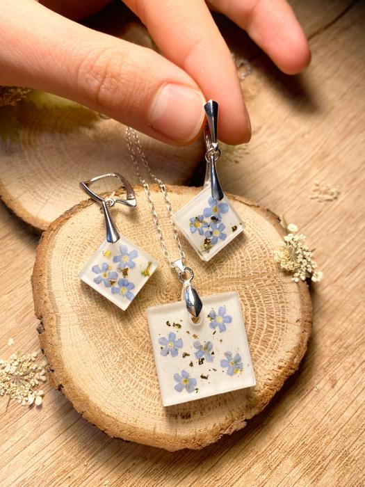Set de bijuterii din argint cu flori de nu ma uita - Set bijuterii handmade 4
