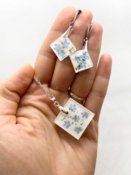 Set de bijuterii din argint cu flori de nu ma uita - Set bijuterii handmade 1