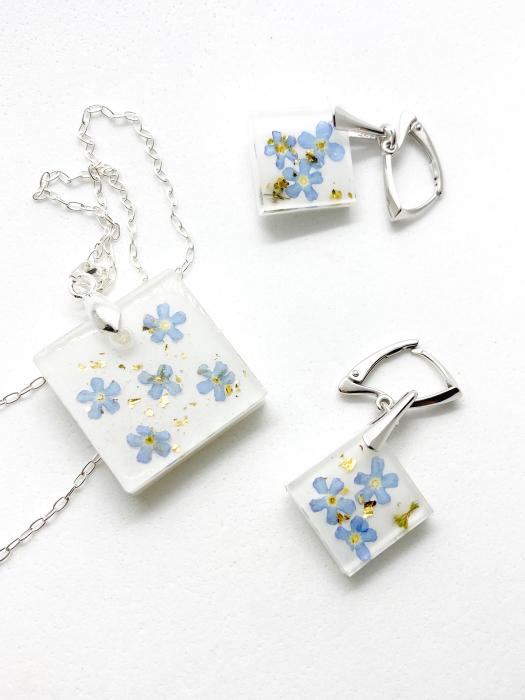 Set de bijuterii din argint cu flori de nu ma uita - Set bijuterii handmade 0
