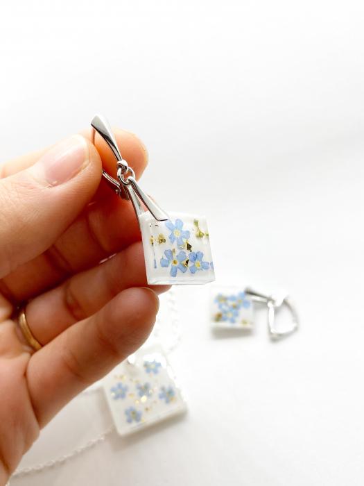 Set de bijuterii din argint cu flori de nu ma uita - Set bijuterii handmade 2