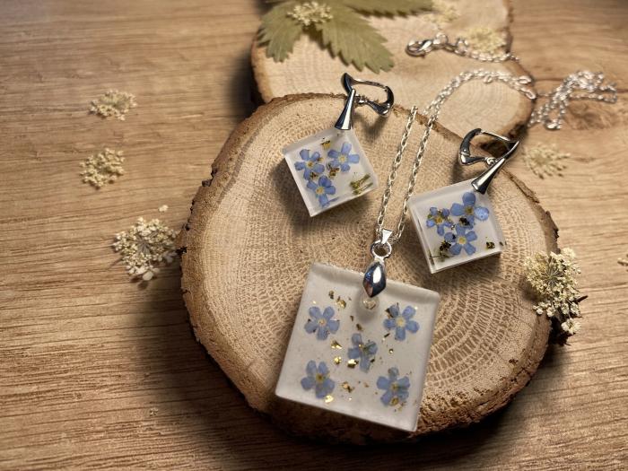 Set de bijuterii din argint cu flori de nu ma uita - Set bijuterii handmade 5