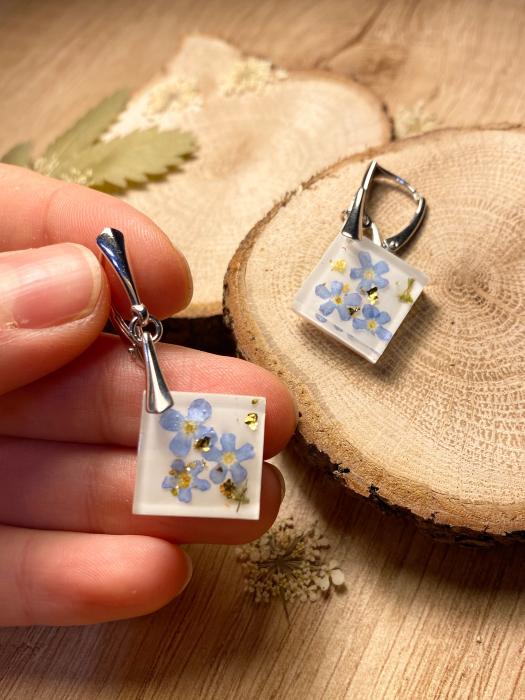 Set de bijuterii din argint cu flori de nu ma uita - Set bijuterii handmade 3