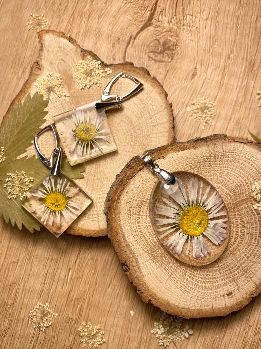 Set de bijuterii din argint cu flori - Set bijuterii handmade [1]