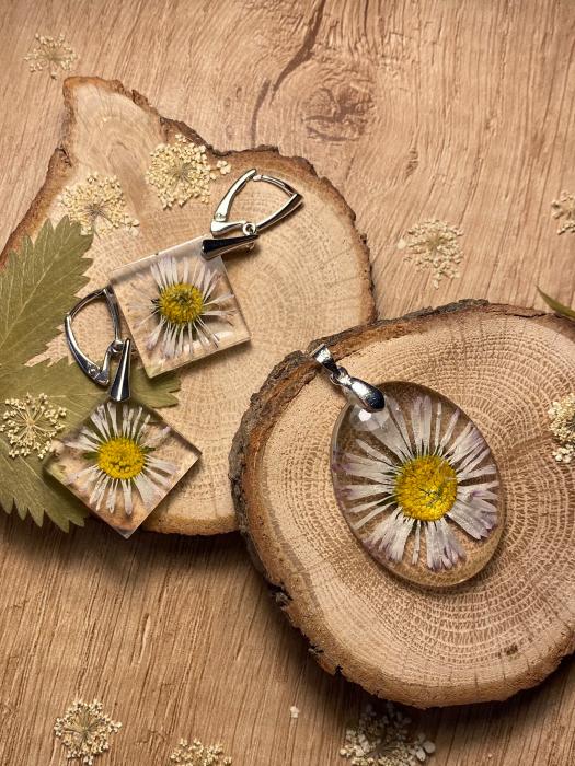 Set de bijuterii din argint cu flori - Set bijuterii handmade [3]