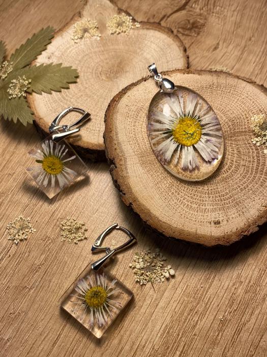 Set de bijuterii din argint cu flori - Set bijuterii handmade [4]