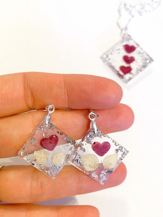 Set de bijuterii cu inimioare din petale de trandafir  - Set bijuterii handmade 5