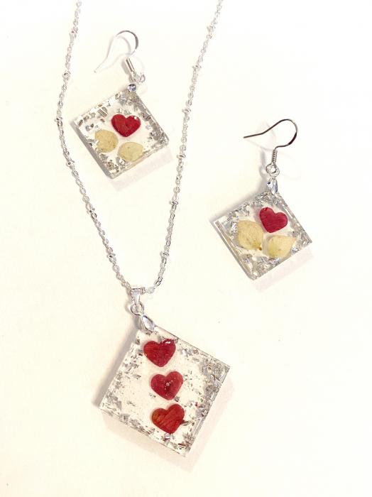 Set de bijuterii cu inimioare din petale de trandafir  - Set bijuterii handmade 4