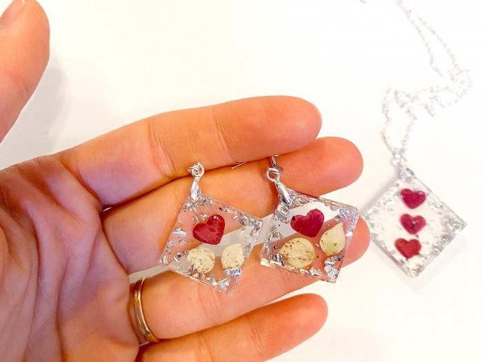 Set de bijuterii cu inimioare din petale de trandafir  - Set bijuterii handmade 3