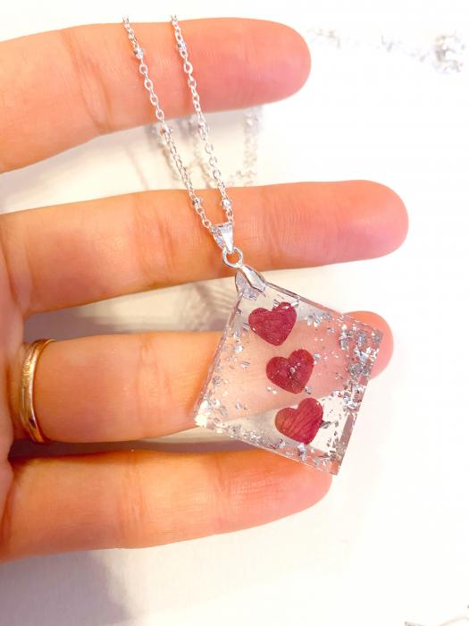 Set de bijuterii cu inimioare din petale de trandafir  - Set bijuterii handmade 2