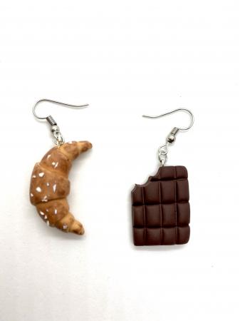 Cercei cu ciocolata si croissant cercercei - Cercei Handmade [1]