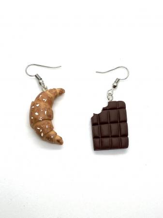 Cercei cu ciocolata si croissant cercercei - Cercei Handmade [2]