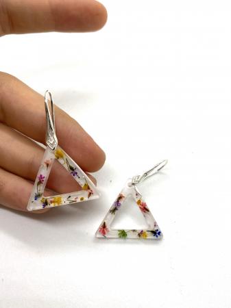 Cercei triunghi cu flori montati in argint - Cercei Handmade [1]