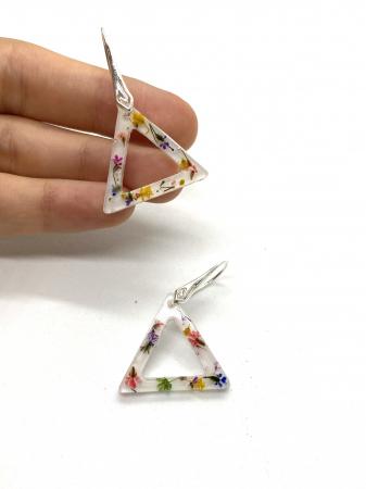 Cercei triunghi cu flori montati in argint - Cercei Handmade [2]