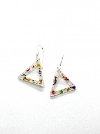 Cercei triunghi cu flori montati in argint - Cercei Handmade [3]