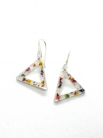 Cercei triunghi cu flori montati in argint - Cercei Handmade [4]