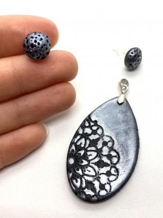 Set de bijuterii handmade cu mandala cercercei [4]