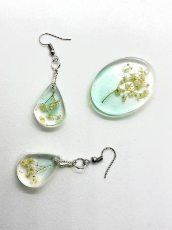 Set de bijuterii cu flori de soc cercercei handmade [2]